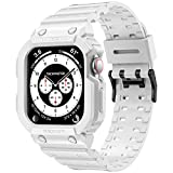 amBand Compatible for Apple Watch 6 Band 42mm 44mm Face Cover, Men Rugged Armor LightweightProtective Clear Transparent Strap for Apple Watch SE iWatch Series 5 4 3 2 1, White (Model: AM2020-42GW)