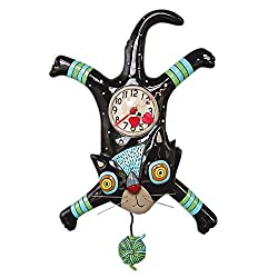 Allen Designs P1852 Craft Attack Whimsical Cat Pendulum Wall Clock