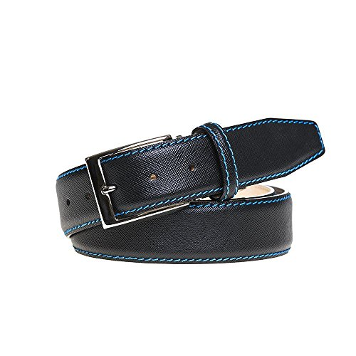 Black Italian Saffiano Leather Belt