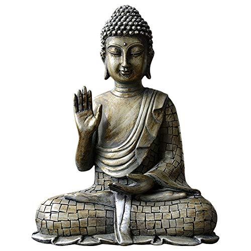 YHCH Buddha Statue Sitting Buddha, Buddha Meditating Resin Religious Figure Sculpture Zen Home Decor Figurine Handmade Ornament Crafts-Cyan-Blue 9inch