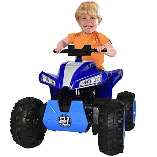 BAKAJI Quad Elettrico 4x4 per Bambini Cavalcabile 4 Motori 12V con 4 Ammortizzatori Luci Fari Funzionanti Sedile in Pelle Radio FM MP3 e Bluetooth Colore Blu Dimensioni 100 × 70 × 51 cm