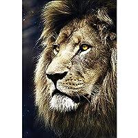 artaslf 番号によるダイヤモンド絵画でペイント動物ライオン針仕事アートクリスタルラインストーンダイヤモンド刺繡モザイククロスステッチキット-40x50cmフレームなし
