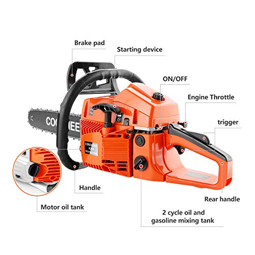 COOCHEER 62CC 2 Stroke Gas Powered Chainsaws, 20