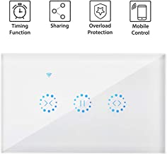 Smart Curtain Switch, Ourleeme WIFI Smart Touch Curtain Switch Wireless Remote Control Electric Roller Blind WIFI Shutter Switch Compatible with eWeLink APP Alexa Echo&Google Assistant AC110 to 250V