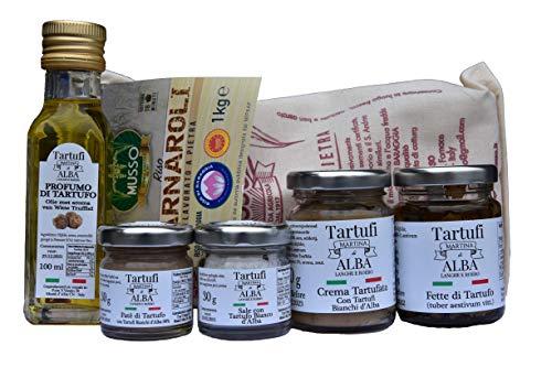 Gourmet Italiaanse Delicatessen Box - Alba Witte Truffel paté, Zout met Truffel, Truffel Olijfolie, Plakjes truffel, Crème met Witte Alba Truffel, Carnaroli rijst