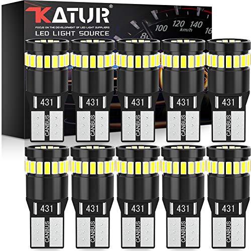 KATUR Bombilla LED 194 168 2825 W5W T10 24-SMD 3014 Conjuntos de Chips Bombillas LED CANBUS Sin Errores para el Domo del automóvil Mapa de cortesía Puerta Luces de matrícula (10 Piezas, Blanco)