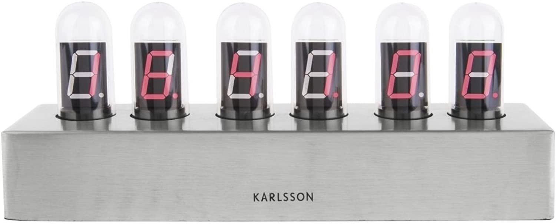Karlsson KA4206 Tischuhr - Cathode - Metall Silber 28 x 7,5 x 11cm
