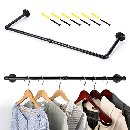 SUMNACON Wall Mounted Clothes Hanging Rail,80cm Industrial Style Clothes Towel Rack Wardrobe Store Display Garment Hanging Bar