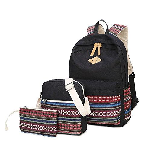 Mochila escolar, mochila 3 en 1 de lona para ocio, mochila + bolso + bandolera para adolescente, estudiante e ideal para la escuela, ocio, viajes, senderismo, etc. (Tribal)
