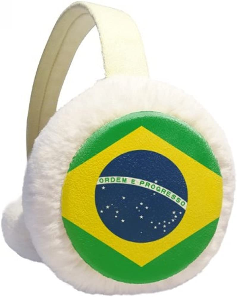 Brazil Flag Country Round Pattern Winter Earmuffs Ear Warmers Faux Fur Foldable Plush Outdoor Gift