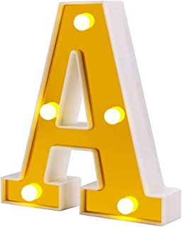 Samapet A LED Marquee Letter Lights Sign 26 Golden Alphabet Light Up Marquee Letters Sign for Wedding Birthday Party Christmas Home Bar Decoration (A)