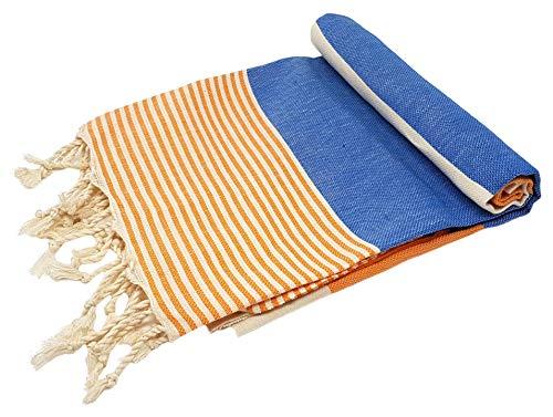 Bella Casa Apollonia - Toalla para sauna, pestemal, fouta, toalla de playa, toalla de baño, toalla de algodón, 100 x 180 cm (azul/naranja)