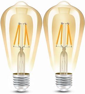 Bombillas LED con casquillo E27, Edison vintage retro filamento ST64, bombillas de 4 W equivalentes a 40 W, 400 lúmenes, luz blanca cálida 2300 K, no regulable, 2 unidades