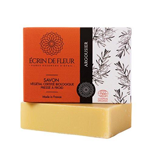 ÉCRIN DE FLEUR | Bio Sanddorn Seife, Ecocert Zertifikat | in Frankreich handgemacht | mit dem Saft von Sanddornbeeren | Ideal für fettige Haut & unreine Haut | Ohne Palmöl & SLS | 100g