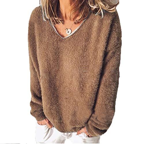 SLYZ Otoño E Invierno para Mujer, Suéter De Lana, Cuello En V, Manga Larga, Camiseta Suelta, Suéter, Top para Mujer