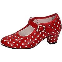 MADE IN SPAIN 17 SEVILLANAS FLAMENCOS NIÑA Zapatos TACÓN Rojo 34