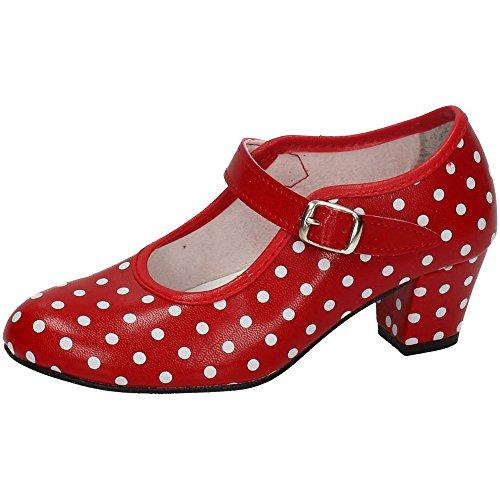 MADE IN SPAIN 17 SEVILLANAS FLAMENCOS NIÑA Zapatos TACÓN Rojo 28