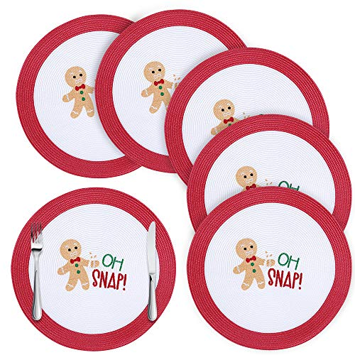 Homaxy Round Braided Christmas Placemats for Dining Table Set of 6 - Woven Heat Resistant Non-Slip Happy Gingerbread Man Kitchen Table Mats, 15' Diameter