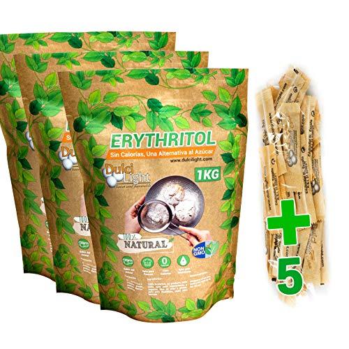 DULCILIGHT Eritritol Edulcorante 100% Natural 3 Kg con Cero Calorias + (5 sobres de obsequio Nuevo Edulcorante Moreno) Sustituto del Azucar Dieta Keto y Cetogenicas