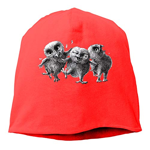SunHinanime Three Funny Crazy Owls Hedging Capclassic Unisex Baseball Cap Adjustable Washed Dyed Cotton Ball Hat Red One Size