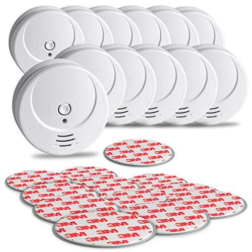 SEBSON 10 Jahres Rauchwarnmelder inkl. Magnethalterung - 12er Set - DIN EN 14604 Zertifiziert, fotoelektrischer Rauchmelder, Lithium Langzeit Batterie
