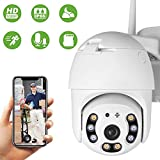 PTZ Dôme Caméra de Surveillance WiFi Extérieure Aottom 1080P Caméra de sécurité WiFi, Caméra IP sans Fil, Audio bidirectionnel, Détecteur de Mouvement, Vision Nocturne de 40M, Message Push, IP66