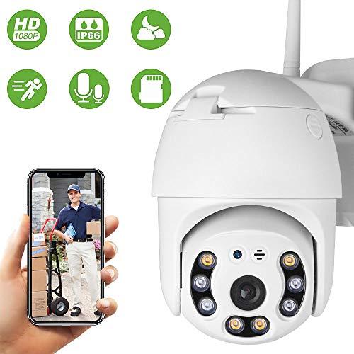 PTZ IP Dome Kamera Outdoor, Aottom 1080P Überwachungskamera IP WLAN Kamera Aussen und Drinnen, Zwei-Wege-Audio, Bewegungsmelder, 40m Nachtsicht, Message Push, IP66, Unterstützung 64G SD Karte (ohne)