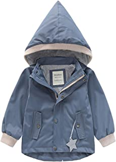 Tronet Baby Winter Warm Coat Male and Female Long-Sleeved Cartoon Without Velvet Hooded Windproof Rain Jacket