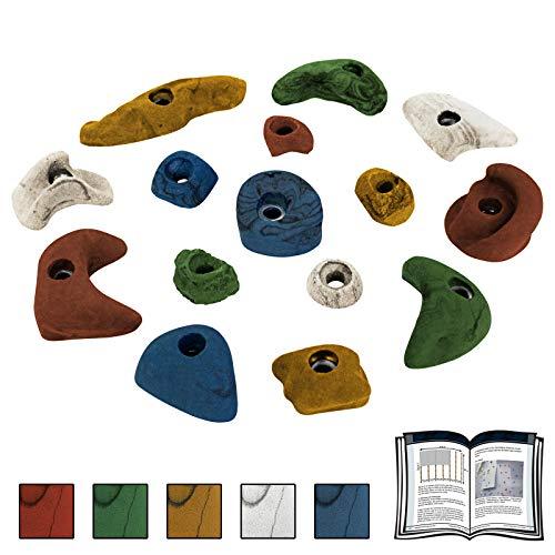 ALPIDEX Starterset: 15 Kinder Klettergriffe - je 5 Griffe in den Größen L, M und S, Farbe:bunt