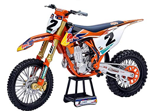 450 SX-F #2 Cooper Webb with Supercross #1 Plate Stickers Red Bull Factory Racing 1/10 Diecast Motorcycle Model by New Ray 58213