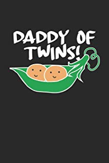 Daddy of Twins: Two Peas in a Pod ruled Notebook 6x9 Inches - 120 lined pages for notes, drawings, formulas   Organizer writing book planner diary
