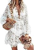 Women 's Sexy Beachwear Long Sleeve Hollow out Bikini Swimwear Crochet Cover Up Crochet Beach Dress MaxiSplit Summer Beach Boho Cover up Dress Skirts (White, XL)