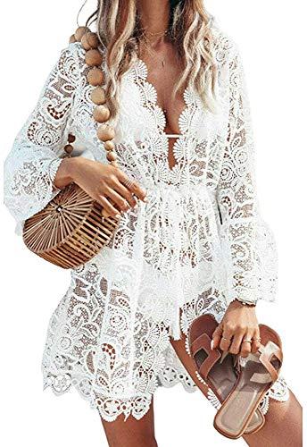 Women 's Sexy Beachwear Long Sleeve Hollow out Bikini Swimwear Crochet Cover Up Crochet Beach Dress MaxiSplit Summer Beach Boho Cover up Dress Skirts (White, L)