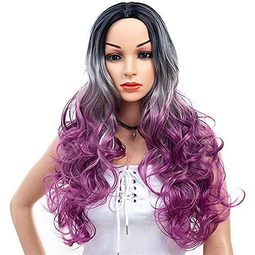 Yuyanshop Gradiente largo ondulado Pelucas para las mujeres Ombre parte media Pelucas sintéticas de aspecto natural mezclado de fibra de color (púrpura)