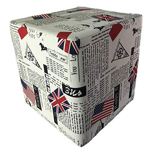 DECOHOUSE - Taburete Original - Puff DISEÑO Londres - 30X34cm - Regalo Ideal Juvenil