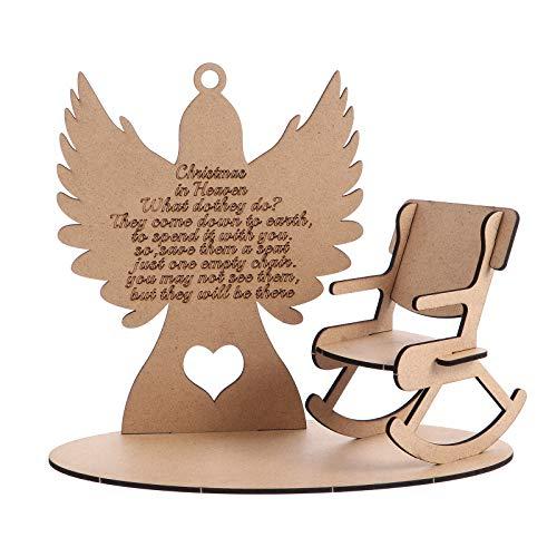 LUOZZY Ornamentos de anjo em pé de madeira para cadeira de balanço placa de cartão decorações faça-você-mesmo