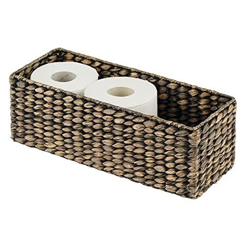 mDesign Cestino vimine ideale per mobile da bagno, ripiani ecc. – Organizer cestino in giacinto d'acqua intrecciato – Contenitore bagno impilabile per carta igienica – marrone scuro