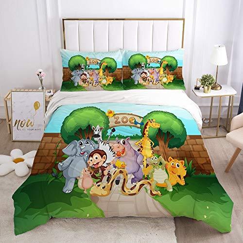 Cartoon bed linen set for children, boys, girls, children's cot duvet cover set, pillowcase, duvet cover, single zoo animal car (Zoo2, single 135 x 200 cm)