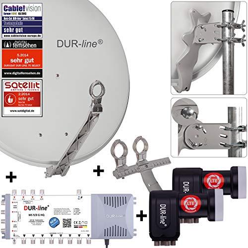 DUR-line 8 TN/2 Satelliten Set - Qualitäts-Alu-Satelliten-Komplettanlage - Select 75cm/80cm Spiegel/Schüssel Hellgrau + Multischalter + 2xLNB - für 8 Receiver/TV [Neuste Technik, DVB-S2, 4K, 3D]
