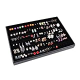 Glitterymall Black Velvet 60 Pairs Stud Earring Holder Jewelry Organizer Tray Display Showcase Drawer Insert for Girl Woman Collection