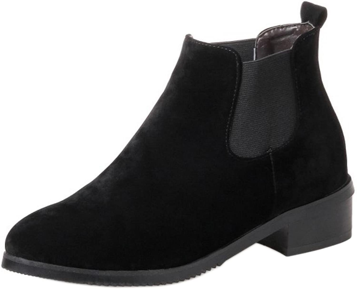 RizaBina Women Casual Square Mid Heel Pull On Chelsea Boots