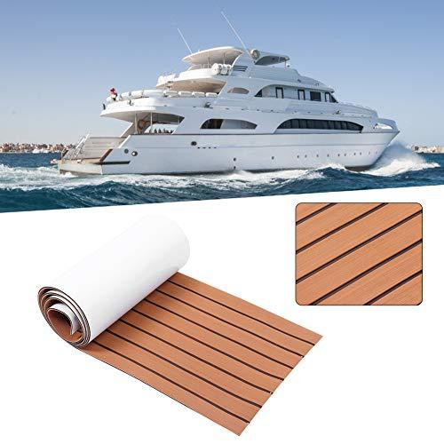 Suelo para cubierta de barco - Alfombra antideslizante náutica - Cara posterior adhesiva - Madera de teca sintética para embarcaciones - Fabricada en espuma EVA - Medidas 240 x 90 x 0,6 cm