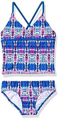 Kanu Surf Girls' Little Candy Beach Sport 2-Piece Tankini Swimsuit, Kayla Pink/Blue Tie-Dye, 5