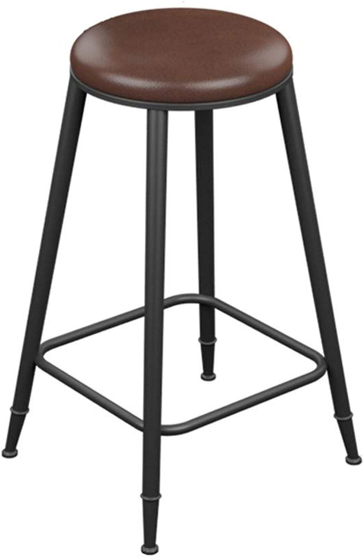 Retro Iron Art Bar Stool High Leg Chairs Modern Simple Kitchen Household Seat Backrest Design Sturdy Non-Slip 0522A (color   No backrest, Size   73cm high)