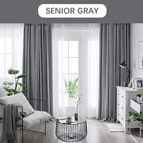 Xiao Jian gordijnen, 99% blackout, oogjes, katoen en linnen, hoge schaduw, thermisch geïsoleerd, voor 1 woonkamer, slaapkamer, plissé (kleur: hooggradig, maat: 4,0 m x 2,7 m)