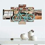 HFDSA Lienzo 5 Piezas Moderno Cuadro En Lienzo Blue Bicycle Vintage Flowers 5 Piezas Salón De Hogardecoracion De Pared Arte Pared Foto Innovador Regalo (Enmarcado)