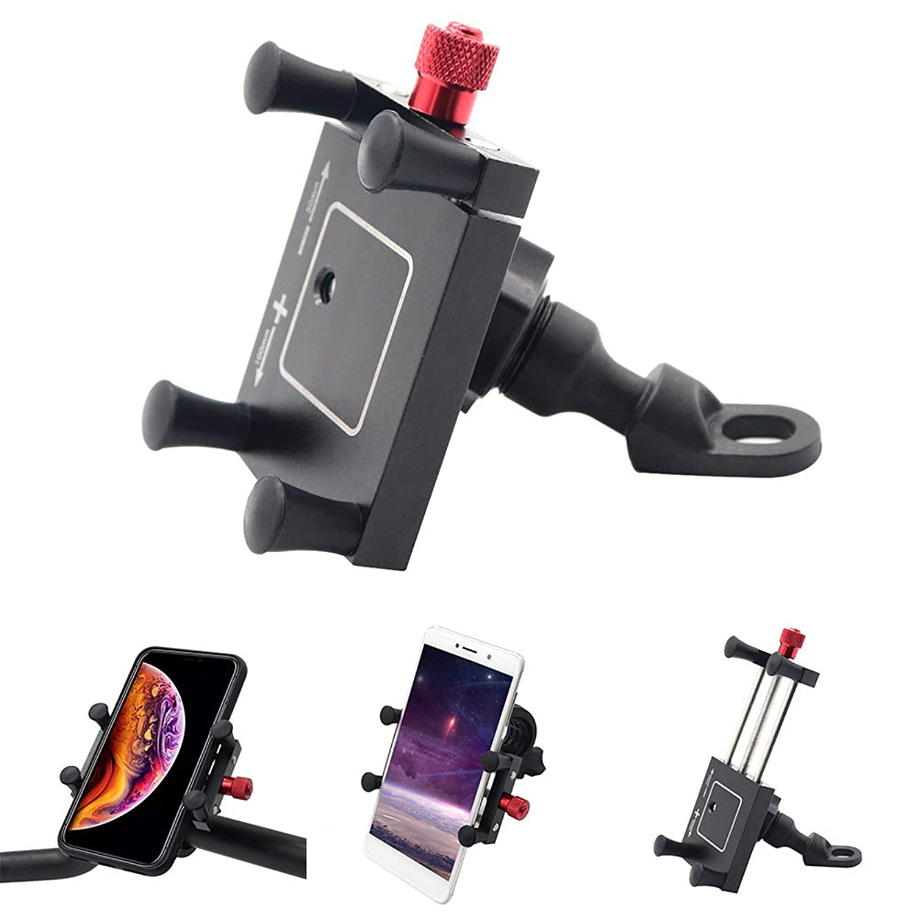 dulawei3 Motorcycle Bicycle Bike Aluminum Alloy 360 Degrees Rotatable Phone GPS Bracket Holder Stand Mount for iPhone Xs MAX XR X 8/7/6/6s Plus Samsung Galaxy S5/S6/S7/S8/S9 Note 9 8 Huawei LG Black
