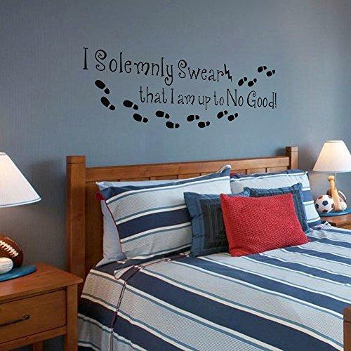I Am Up To No Good Harry Potter cita de pared adhesivo dormitorio Inglés palabras decoración, vinilo, negro, 19'hx58'w