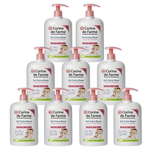 Corine de FARME Gel Lante extra suave para cuerpo/cabello con extracto de flor de almendro hidratante – Lote de 9