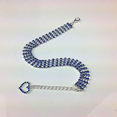 MoonyLI - Collar de Chien en Strass, Collar de Chien en Forma de Coeur en Cristal Strass Pour Petit, Moyen, Grand, Chiens et Chats, Azul, Medium